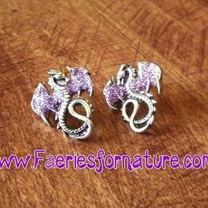 Jewelry - Glitter Dragon Stud Purple Silver Earrings